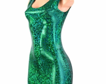 Green Shattered Glass Holographic Metallic Tank Style Bodycon Party Dress  1500113