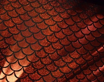 Red Dragon Scale Spandex Fabric Holographic Mermaid Blood Crimson Shiny Sparkly Glistening Fire Lizard Fish Reptile Snapper (By the Yard)