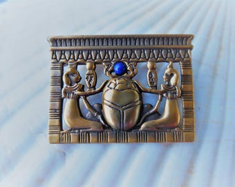 Scarab and Egyptians in Worship Brooch
