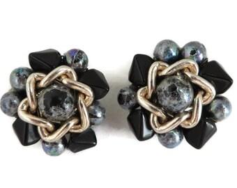 Blue Japan Earrings, Vintage Cluster Bead Earrings, Japan Clip-on Earrings, 1960s Jewelry