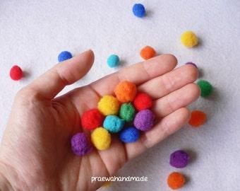 10 pieces/set mixed colours pom pom balls, pom pom, pom balls, rainbow balls