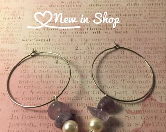 Stainless Steel Hoop Earrings with Lavender Purple Stones with a Small Pearl