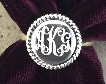 Personalized Engraved Round Sterling Silver Monogram Ring 08117