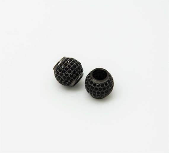 Black CZ Micro Pave 11mm Round Big Hole  Beads