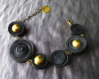 Upcycled jewelry. Bracelet made of recycled inner tubes LOME