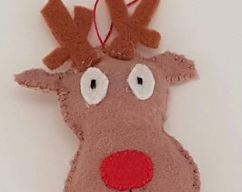 Felt Christmas reindeer tree decoration, rudolph the red nose reindeer, hand made festive ornament, decor