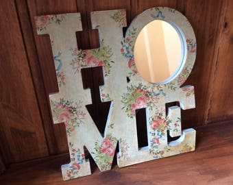 Wall hanging sign 'HOME' decoupaged gift, home decor vintage shabby chic