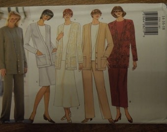 Butterick 5701, sizes 14-18, UNCUT sewing pattern, craft supplies, cardigan, dress, pants, top, separates