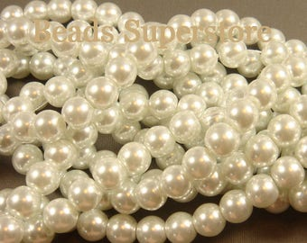 SALE 8 mm White Glass Round Pearl Bead - 50 pcs