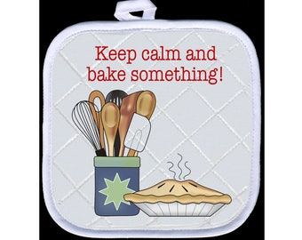 Pot Holder - Keep Calm and Bake - Free Standard Shipping
