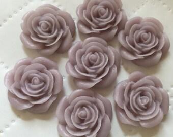 6 pcs 21 mm Thistle Rose Cabochon Flowers.Matte Finish,flat back flower,21 mm thistle rose resin flower,lavender cabochon flower,flower kit