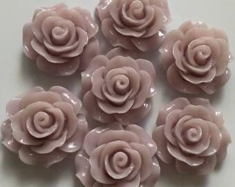 8 pcs 20 mm Thistle Rose Cabochon Flowers.Matte Finish,flat back flower,20 mm thistle rose resin flower,lavender cabochon flower,flower kit