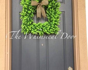Boxwood Wreath Artificial Boxwood Wreath Square Boxwood wreath All season wreath Farmhouse wreath