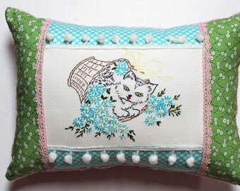 Embroidered Kitten Pillow Cat Cushion Chenille Pom Pom TrimBlue Green Cottage Cats Decor Vintage Embroidery Kittens