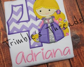 Personalized Rapunzel Birthday Shirt / 1-9