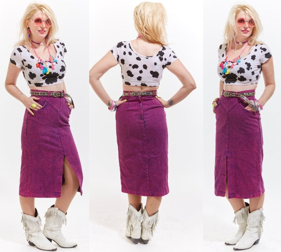 Vtg 80s Acid Washed High Waisted HOT PINK Fuchsia Denim Midi SKIRT Retro Boho Soft Grunge Country Western Rocker Wiggle Pin Up Bandage Maxi