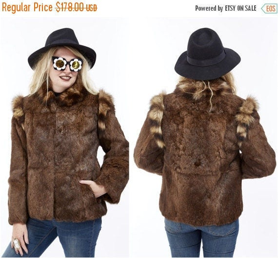 Vtg 70s 80s Genuine RACCOON and Brown RABBIT Fur Coat Cropped Jacket Glam Boho Disco Rocker Retro Mod Avant Garde Soft Furry Fuzzy Shaggy