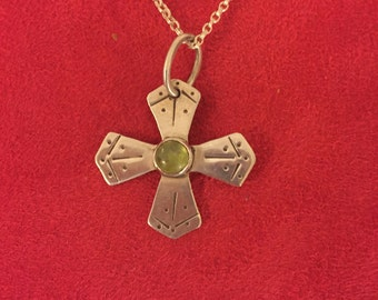 Stamped cross peridot necklace