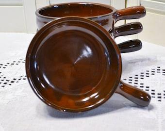 Vintage Soup Bowl Set of 4 Brown Glaze S and B Handled Bowl PanchosPorch