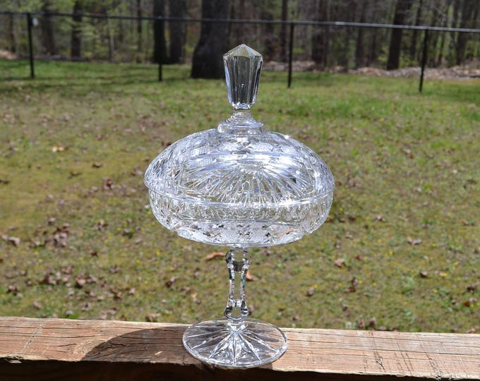 Vintage Cut Crystal Pedestal Candy Dish with Lid Star Design Holiday Decor PanchosPorch