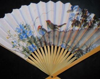 Blue Birds with Flowers Floral Folding Hand Fan #94