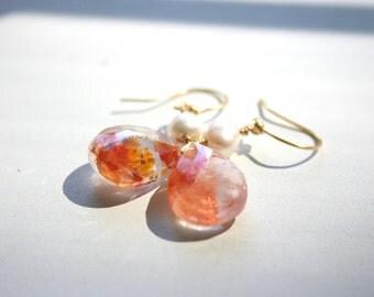 Dangle Earrings, Strawberry Quartz and Pearl Drop Earrings, Simple, Minimalist, Boho, Fresh Earrings, Unique, StudioAtPennyLane