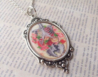 Roses & Ribcage Cameo Necklace/Bones/Skeleton/Skull/Pastel/Goth/Gothic/Pinup/Rockabilly/Macabre/Horror/Flowers/Day of the Dead/Jewelry