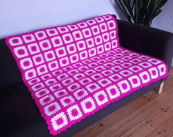 Throw For Sofa Throw Blanket Pink Blanket Pink Throw Blanket Hot Pink Blanket READY TO SHIP