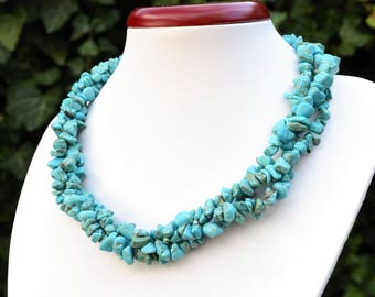 3 strands howlite turquoise chips beads.