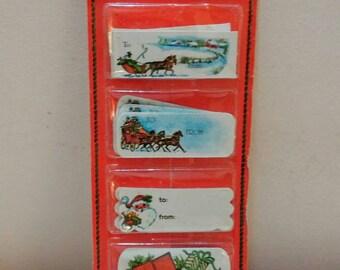 Vintage Christmas gift tags NIP retro Christmas wrapping