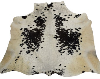 Western Natural Black & White (52'' X 54'' ) Leather Rug / Skin Kcch- 1722
