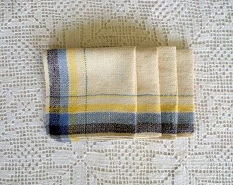 Vintage Off-White Napkins with Blue and Yellow, Set of Four