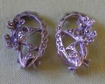 Petite Vintage Silver Tone Marcasite Clip On Earrings