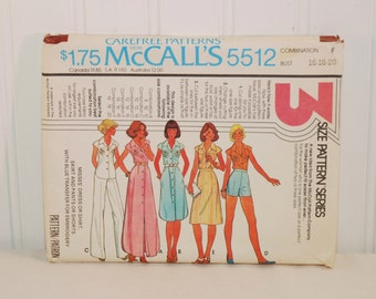 Vintage McCall's 5512 Carefree Patterns (c. 1977) Misses' Size 16, 18, 20, Misses Dress, Shirt, Skirt, Pants, Shorts, Retro Styling