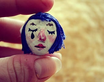 Pierrot girl // clay pin