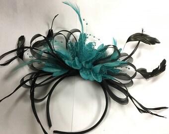 Black Hoop & Turquoise Teal Fascinator on Headband
