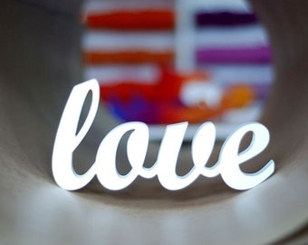 White Love sign wooden word wall decor wedding or home decoration interior signs painted wood letters