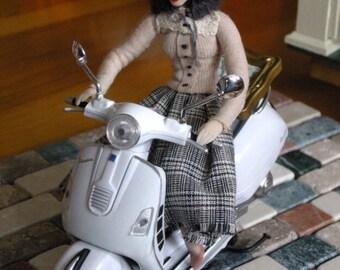 Paris miniature doll La Parisienne OOAK posable Free Shipping