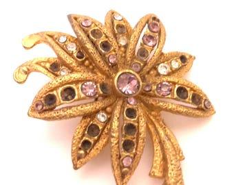 Brooch Vintage Golden Brass Charming Flower Style Crystal Austria