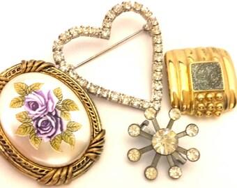 Vintage Wonderful Flower Heart Design Gold Silver Plated Brooch Lot 4 Pcs