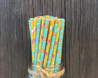 100 Birthday Themed Paper Straws, Blue and Yellow Party Supplies, Birthday Cakes and Balloons, Paper Goods, Tableware, Decoration, Kid's