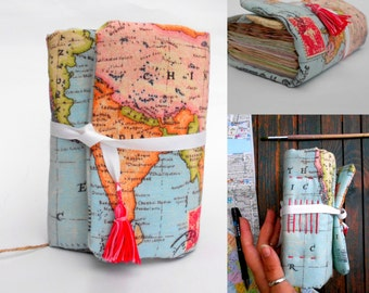 Travel  Journal, Old Map journal, Diary Handmade, Travel Notebook, Personalized journal, Travel writing journal, gift for her, Sashalandia