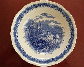 "RARE UNUSED 11"" Villeroy & Boch Burgenland blue Massive Rimmed Serving Bowl Plate GERMANY"