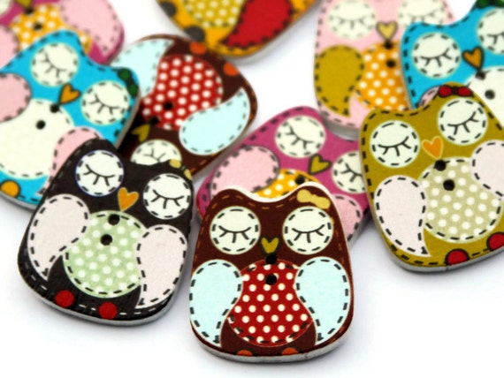 10 Wooden Owl Buttons Painted Wood Buttons 25mm X 22mm