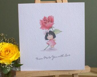"""6"""" x 6""""  Girls Birthday Card"""