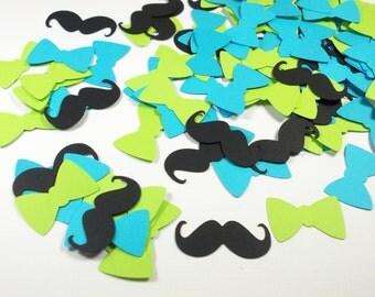 Little Man Bow Tie Mustache Confetti, Aqua Blue & Lime Bow Tie Cutouts, Table Decor, 100 CT.