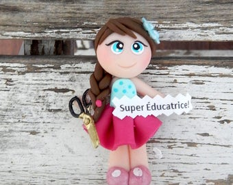 Loving, gift an educator, child, baby, daycare, customize, handmade, clay polmere