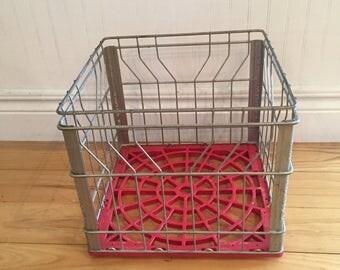 Vintage Metal Milk Crate/Dairy Crate