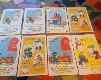 Vintage set of  Pennsylvania Dutch cartoon sayings post cards