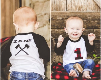 Lumberjack First Birthday Shirt  Woodland Birthday  - Black Red Plaid Flannel Birthday - 1st Birthday Boy - First Birthday Boy Outfit Raglan